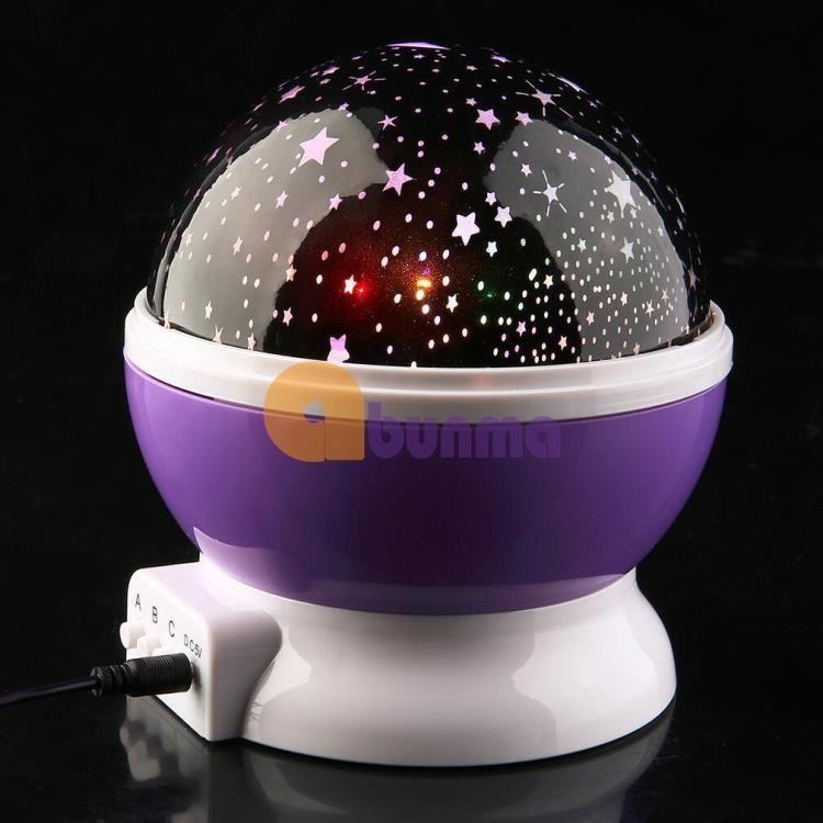Đèn ngủ xoay tròn chiếu sao, trăng 12V (USB)