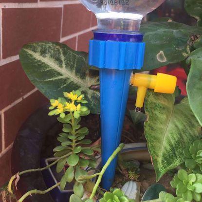Picture of Set 5 Que cắm tưới lắp chai nhựa pet C-09, Đầu cắm tưới nhỏ giọt điều chỉnh lắp chai coca